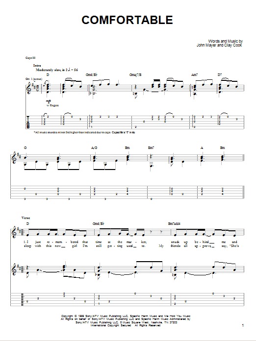 Tablature guitare Comfortable de John Mayer - Tablature guitare facile