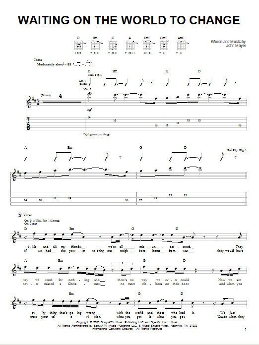 Tablature guitare Waiting On The World To Change de John Mayer - Tablature guitare facile