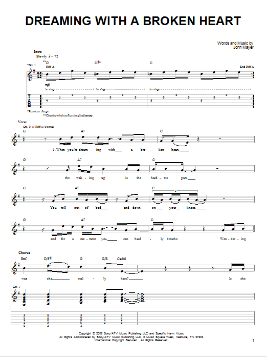 Tablature guitare Dreaming With A Broken Heart de John Mayer - Tablature guitare facile