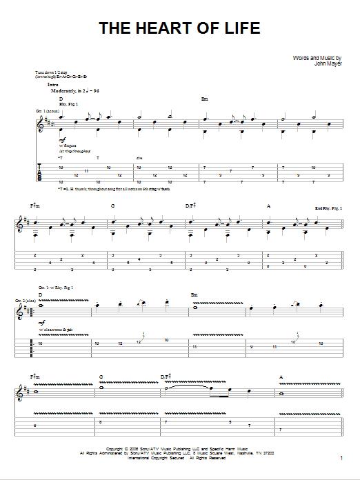 Tablature guitare The Heart Of Life de John Mayer - Tablature guitare facile