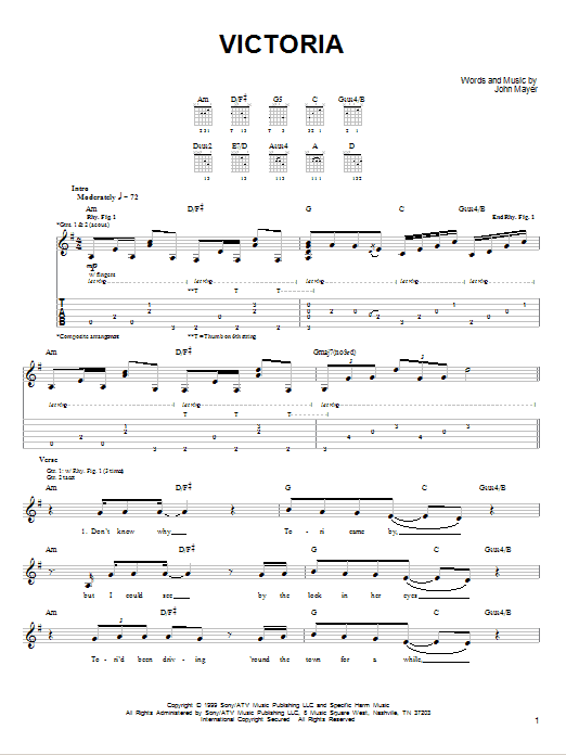 Tablature guitare Victoria de John Mayer - Tablature guitare facile