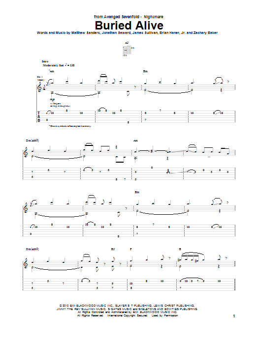 Tablature guitare Buried Alive de Avenged Sevenfold - Tablature Guitare