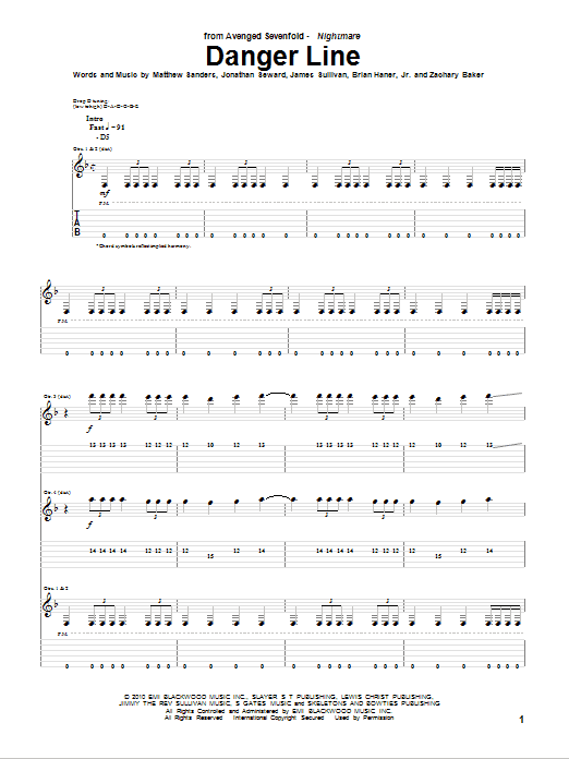 Tablature guitare Danger Line de Avenged Sevenfold - Tablature Guitare