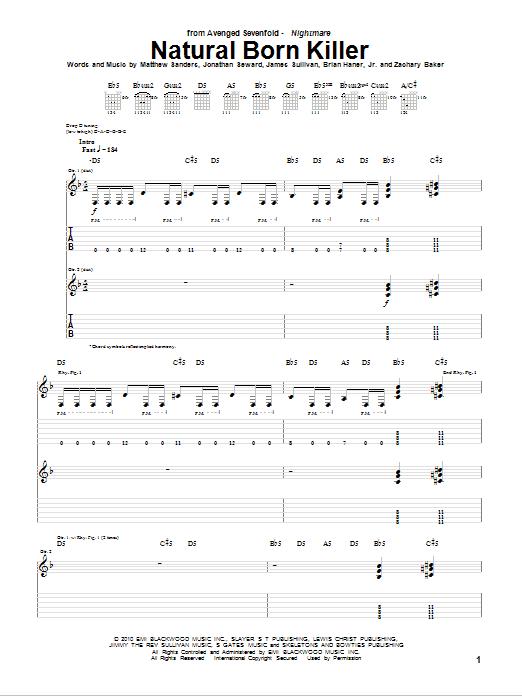 Tablature guitare Natural Born Killer de Avenged Sevenfold - Tablature Guitare