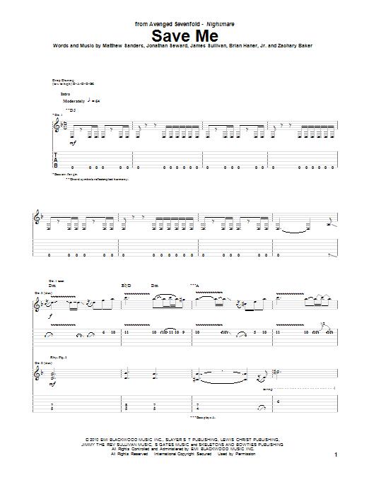 Tablature guitare Save Me de Avenged Sevenfold - Tablature Guitare