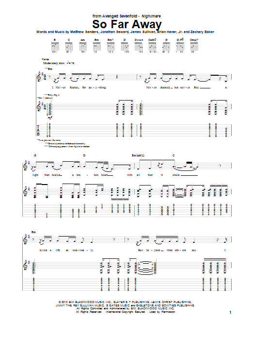 Tablature guitare So Far Away de Avenged Sevenfold - Tablature Guitare