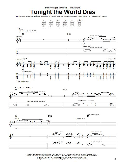 Tablature guitare Tonight The World Dies de Avenged Sevenfold - Tablature Guitare