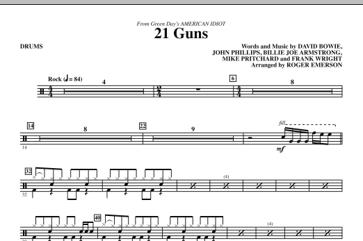 21 Guns (from Green Dayu0026#39;s American Idiot) - Drums : Sheet Music Direct