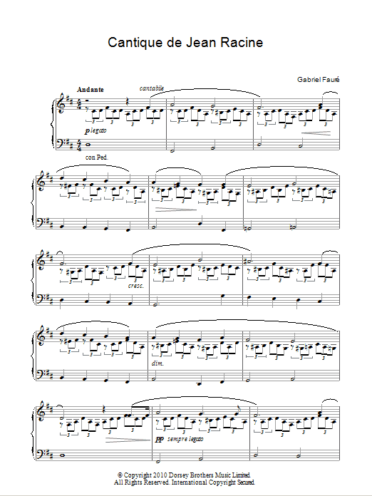 Cantique De Jean Racine sheet music for piano solo by Jean Baptiste Racine