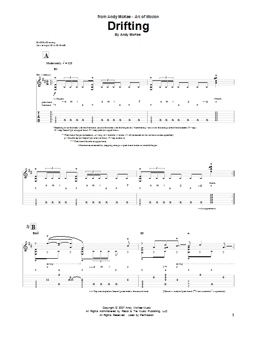 Tablature guitare Drifting de Andy McKee - Tablature Guitare