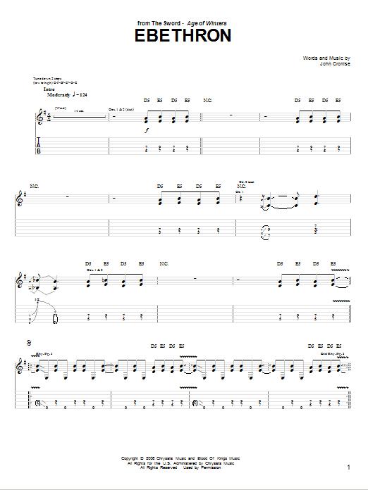 Tablature guitare Ebethron de The Sword - Tablature Guitare