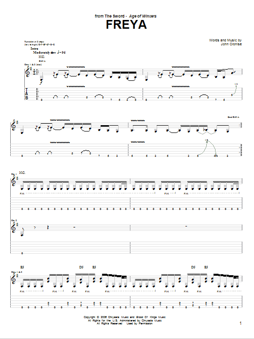 Tablature guitare Freya de The Sword - Tablature Guitare
