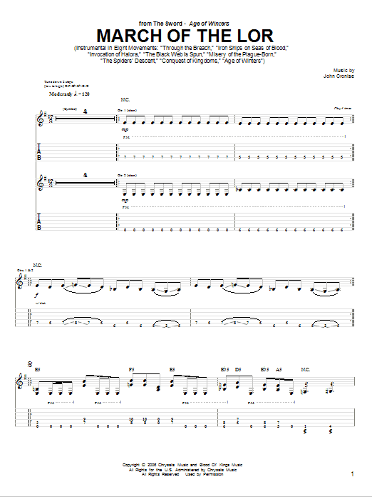 Tablature guitare March Of The Lor de The Sword - Tablature Guitare