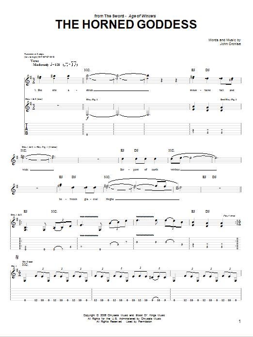 Tablature guitare The Horned Goddess de The Sword - Tablature Guitare