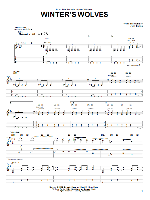 Tablature guitare Winter's Wolves de The Sword - Tablature Guitare