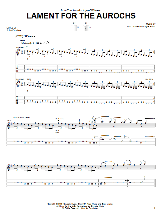 Tablature guitare Lament For The Aurochs de The Sword - Tablature Guitare
