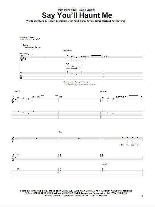 Say You'll Haunt Me sheet music for guitar solo (tablature) by Shawn Economaki