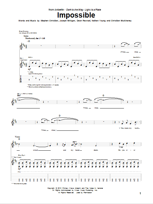 Tablature guitare Impossible de Anberlin - Tablature Guitare