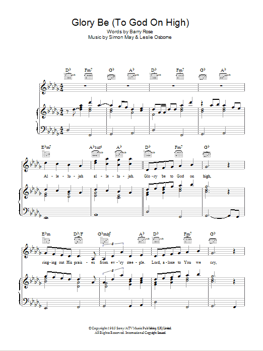 Glory Be (To God On High) sheet music for voice, piano or guitar by Leslie Osborne