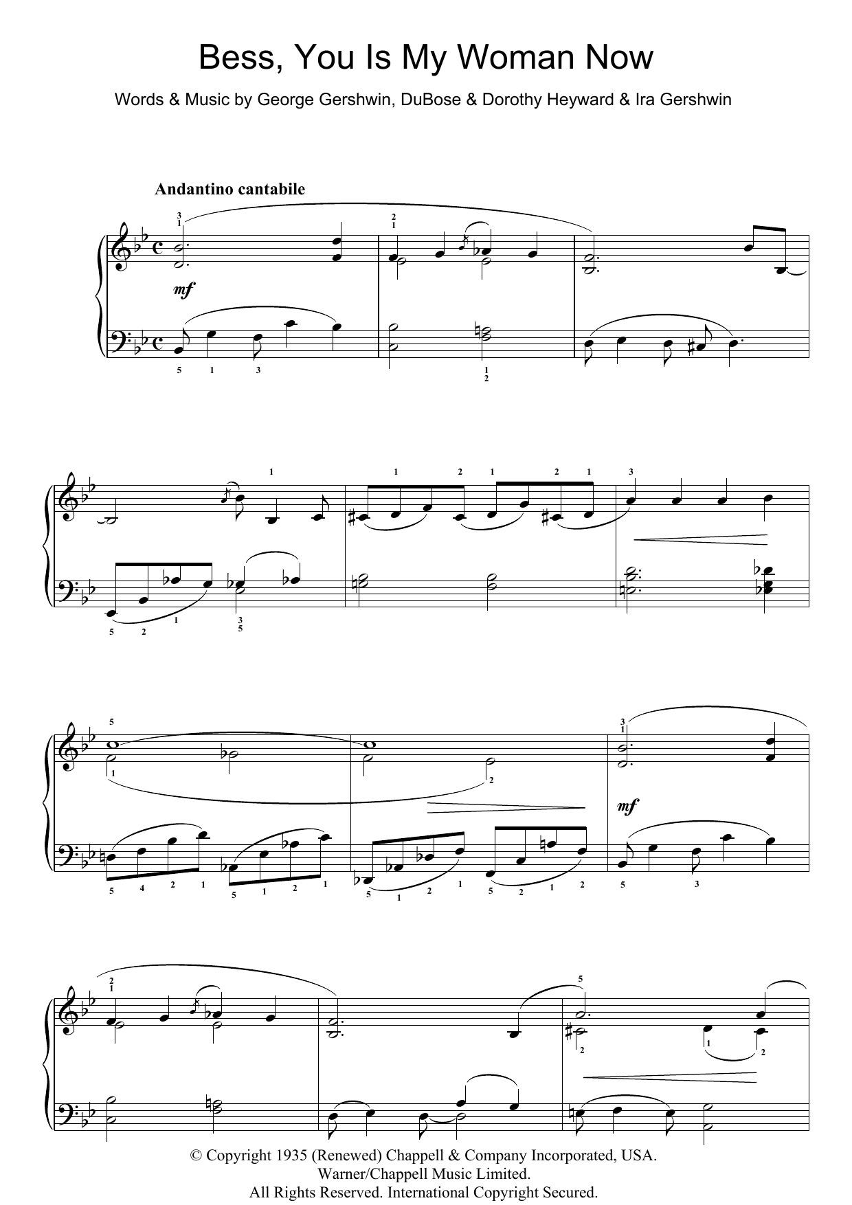 Bess, You Is My Woman Now sheet music for piano solo (chords) by Ira Gershwin