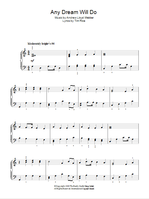 Any Dream Will Do sheet music for piano solo (chords) by Tim Rice