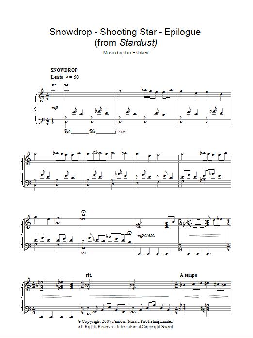 Snowdrop / Shooting Star / Epilogue sheet music for piano solo by Ilan Eshkeri