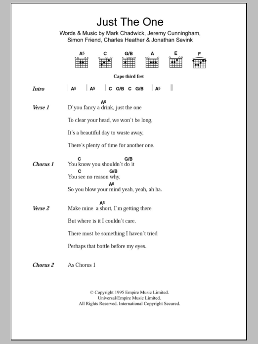 Just The One sheet music for guitar solo (chords, lyrics, melody) by Simon Friend