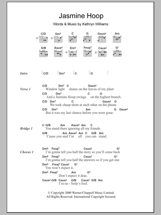 Jasmine Hoop sheet music for guitar solo (chords, lyrics, melody) by Kathryn Williams