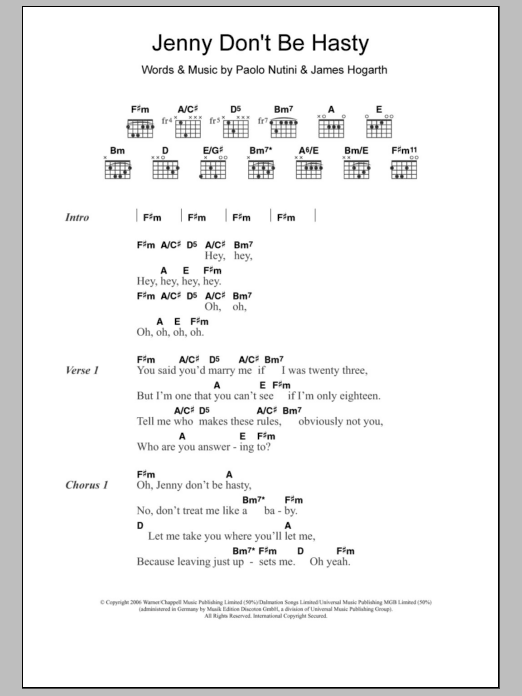 Jenny Don't Be Hasty sheet music for guitar solo (chords, lyrics, melody) by James Hogarth