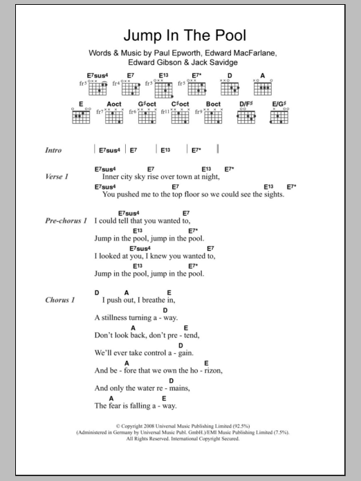 Jump In The Pool sheet music for guitar solo (chords, lyrics, melody) by Paul Epworth
