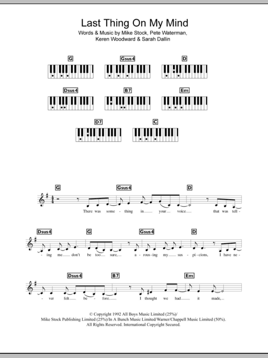 Last Thing On My Mind sheet music for piano solo (chords, lyrics, melody) by Sarah Dallin