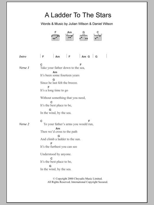 A Ladder To The Stars sheet music for guitar solo (chords, lyrics, melody) by Julian Wilson
