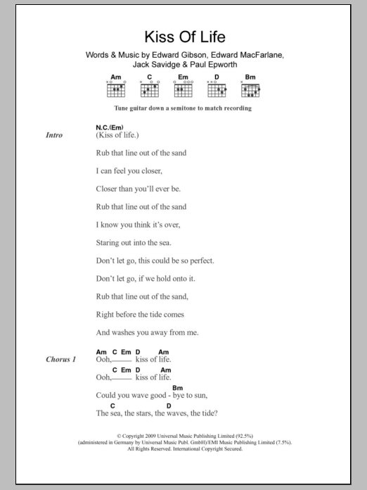 Kiss Of Life sheet music for guitar solo (chords, lyrics, melody) by Paul Epworth