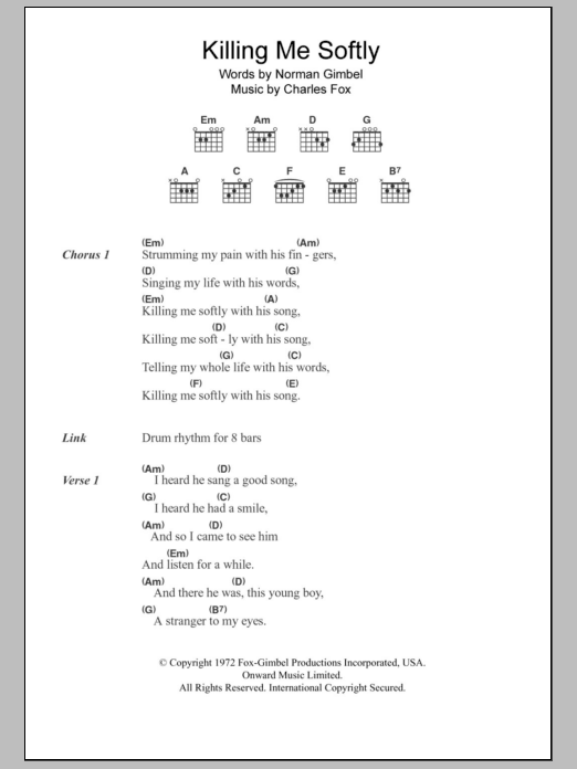 Killing Me Softly With His Song sheet music for guitar solo (chords, lyrics, melody) by Norman Gimbel