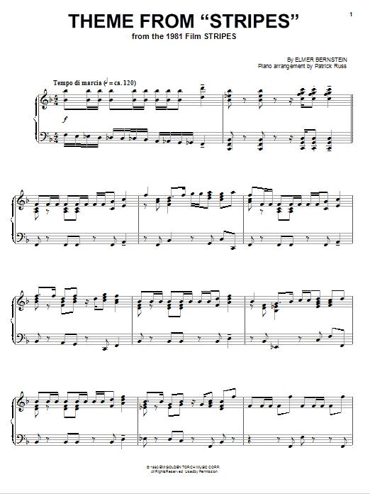 Partition piano Theme from Stripes de Elmer Bernstein - Piano Solo
