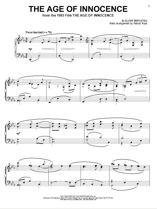 Partition piano The Age Of Innocence de Elmer Bernstein - Piano Solo