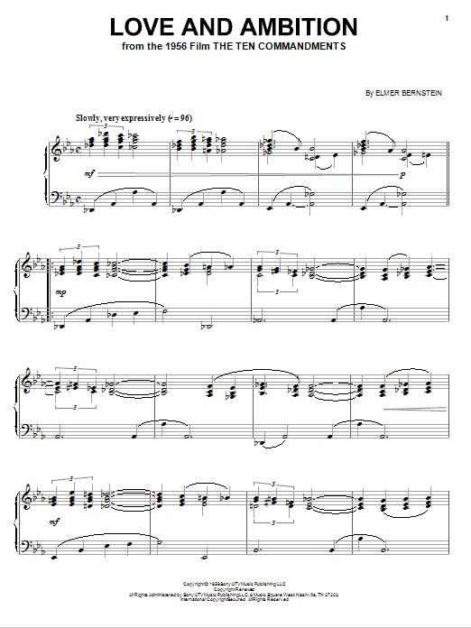 Partition piano Love And Ambition de Elmer Bernstein - Piano Solo