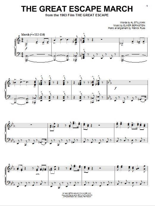Partition piano The Great Escape Waltz de Elmer Bernstein - Piano Solo