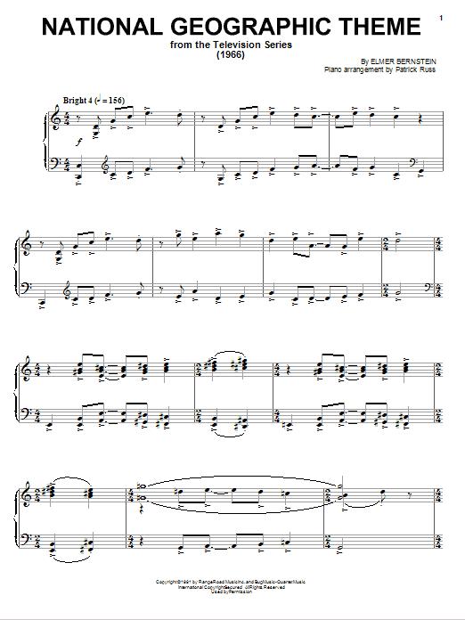 Partition piano National Geographic Theme de Elmer Bernstein - Piano Solo