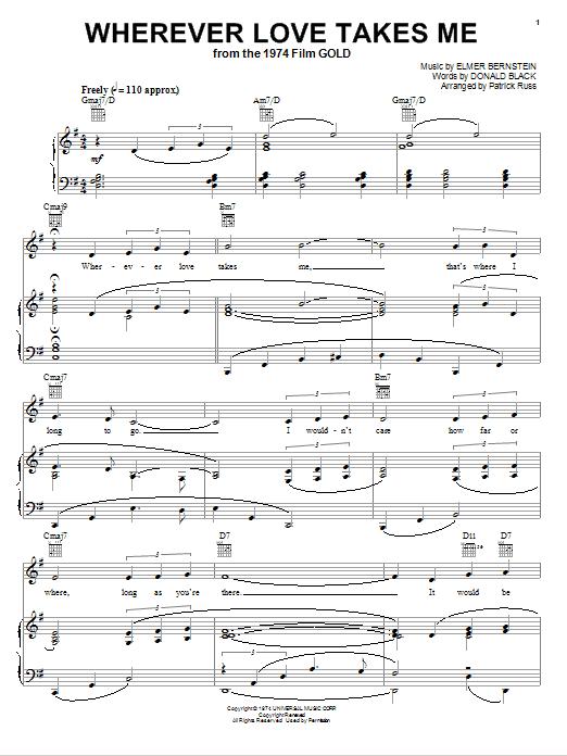 Partition piano Wherever Love Takes Me de Elmer Bernstein - Piano Voix Guitare (Mélodie Main Droite)