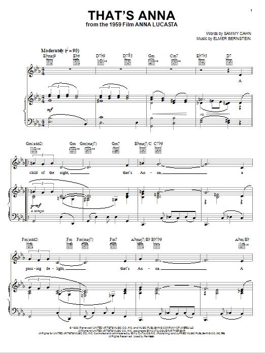 Partition piano That's Anna de Elmer Bernstein - Piano Voix Guitare (Mélodie Main Droite)