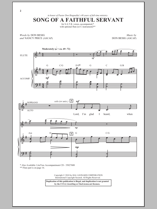Song Of A Faithful Servant sheet music for choir and piano (SATB) by Don Besig