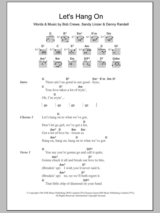 Let's Hang On sheet music for guitar solo (chords, lyrics, melody) by Sandy Linzer