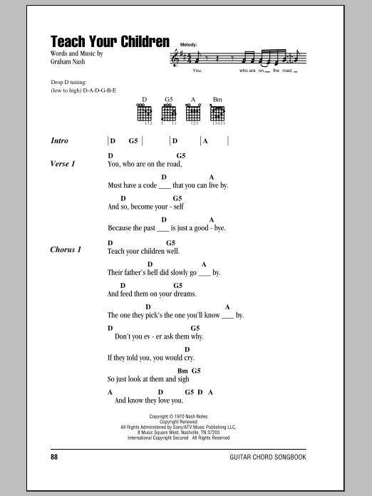 Teach Your Children sheet music for guitar solo (chords, lyrics, melody) by Graham Nash