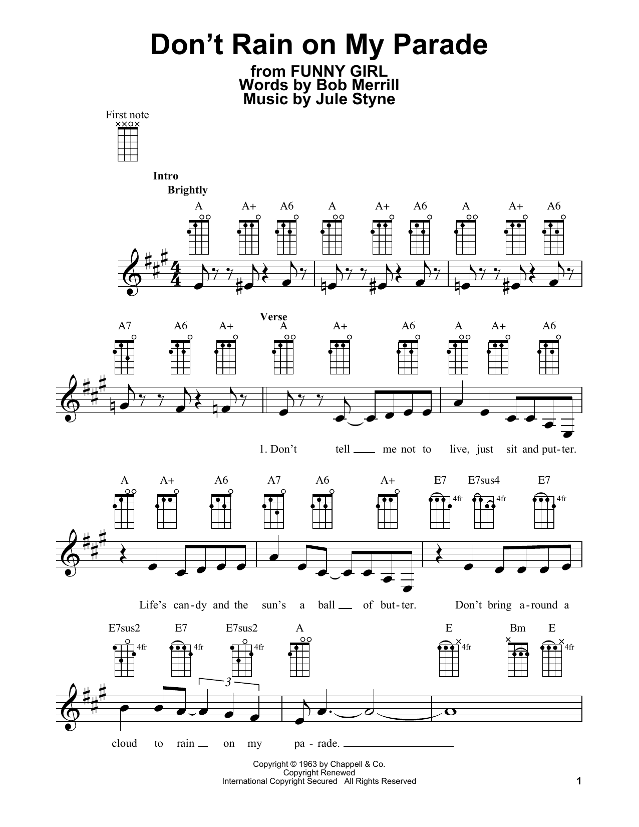 Tablature guitare Don't Rain On My Parade de Bob Merrill - Ukulele