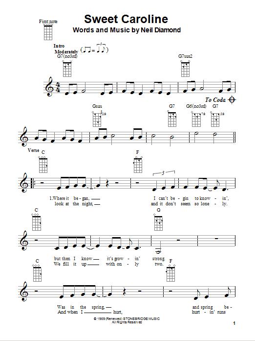 Tablature guitare Sweet Caroline de Neil Diamond - Ukulele