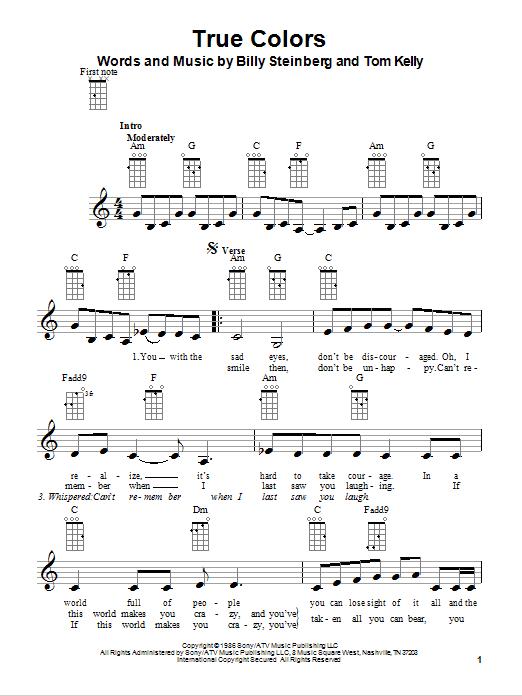 Cyndi Lauper True Colors Sheet Music True Colors | Sheet Music