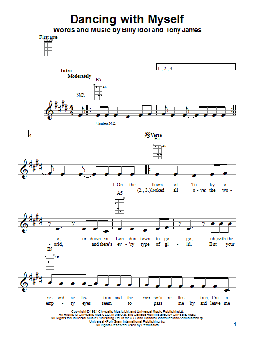 Tablature guitare Dancing With Myself de Billy Idol - Ukulele