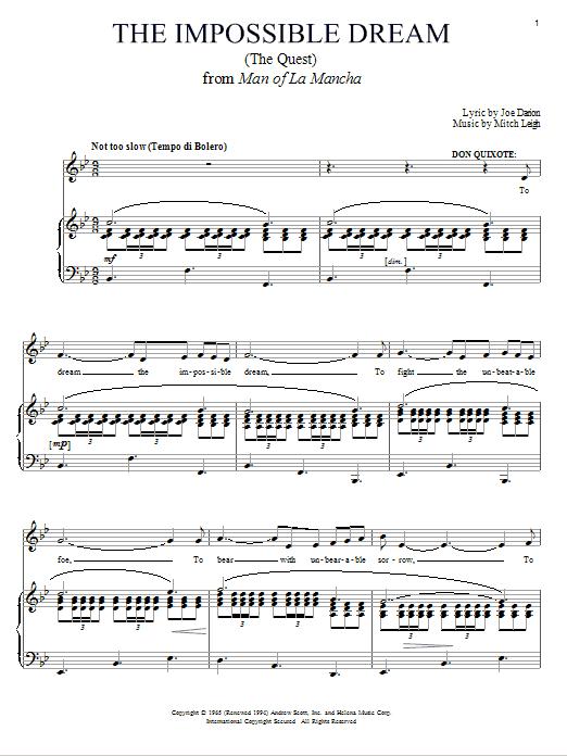 Partition piano The Impossible Dream (The Quest) de Joe Darion - Piano Voix Guitare (Mélodie Main Droite)
