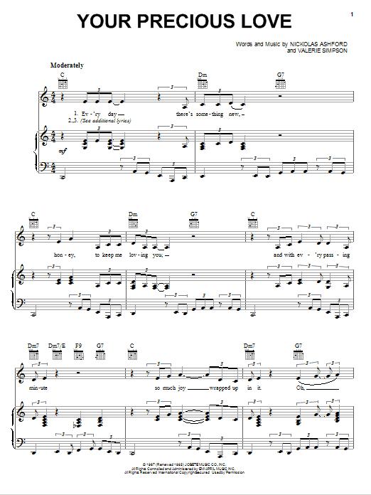 Partition piano Your Precious Love de Marvin Gaye & Tammi Terrell - Piano Voix Guitare (Mélodie Main Droite)